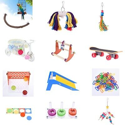 Pet Parrot Bird Swing Rocking Stand Perch Play Toy Cage Hanging Ornament Toys