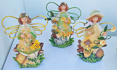 Set of 3 Fairy flower fairies garden rustic country old world carved look B