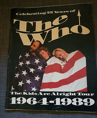 """The Who """"the Kids Are Alright"""" 1964-1989 Concert Tour Book Guide Program"""