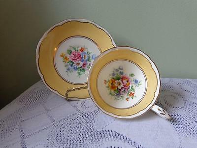 Crown Staffordshire Bone China Peach Banded Rose Floral Cup & Saucer