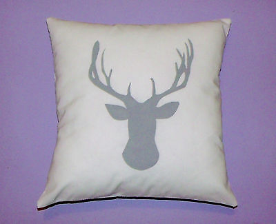 Stag Deer head cushion cover, grey white tribal/ forest nursery baby shower gift