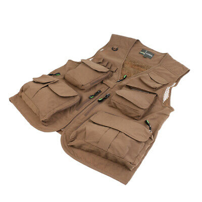 Outdoor Men Fly Fishing Vest Multi Pockets D-Ring Photography Hunting Jacket