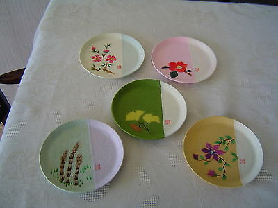 JAPANESE WASHI (paper) HAND PAINTED PLATES - SET OF 5 - BOXED