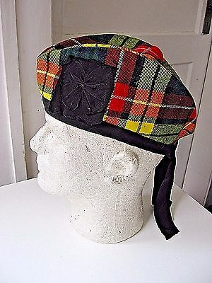 Vintage Scottish Tartan Plaid Glengary Highland Folding Hat, Bow For Medal-7 1/4