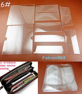 8pcs Leather Craft Acrylic Perspex Long Wallet Pattern Stencil Template Tool Set