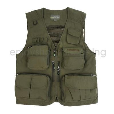 Outdoor Men Fly Fishing Vest Multi Pockets Sleeveless Photography Jacket