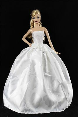 White Fashion Princess Party Dress/Clothes/Gown For 11.5in.Doll K05W