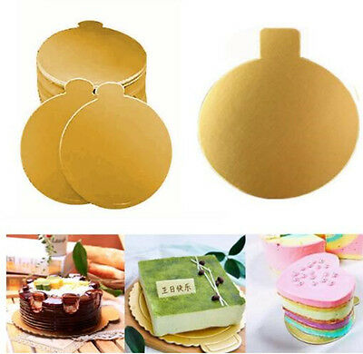 100XRound Mousse Cake Board Golden Paper Card Wedding Party Pastry Decor 8*8CM