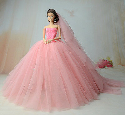 Fashion Royalty Princess Dress/Clothes/Gown+veil For Barbie Doll S521