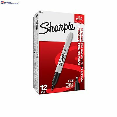 Sharpie Fine Point Permanent Markers Box of 12 Markers Black (30001) Free Shippi
