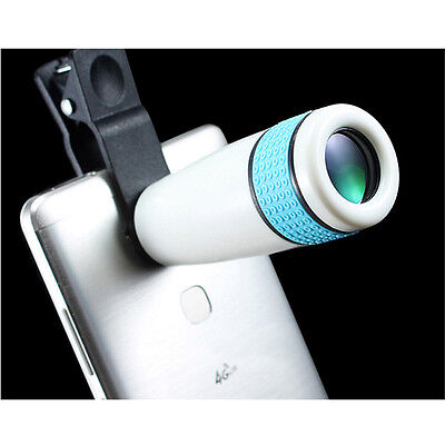 12x Night Vision Optical Zoom Telescope Camera Lens Universal Mobile Phone Blue