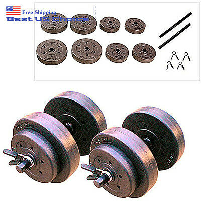 Golds Gym 40lbs Vinyl Dumbbell Set Hand Weights Workout Adjustable Equipment New