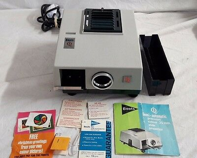 """Vintage Boots IQ slide projector for 2x2"""" slides with magazine in box"""