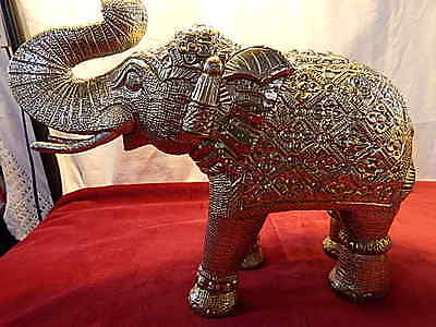 Silver Elephants Statue Tin Vintage Indian Oriental Animal Large Pair 35cm 5.2kg