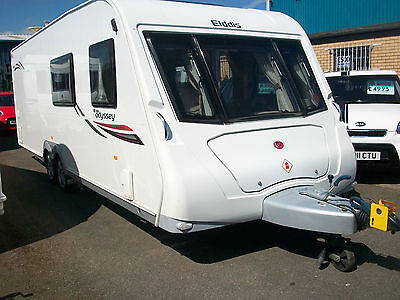 Elddis odyssey 656 luxury fixed bed twin axle touring caravan with full awning