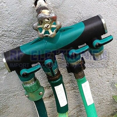 3/4 Inch Garden Hose 4 Way Splitter Water Pipe Faucet Shut-off Valve Connector U