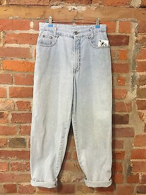 VINTAGE MOM JEANS HIGH WAISTED TAPERED 90s PALE BLUE (j38) W29 L27 SIZE 10