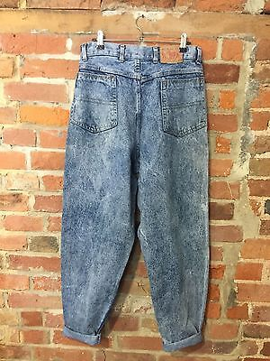 VINTAGE MOM JEANS HIGH WAISTED TAPERED 90s BLUE STONEWASH (j39) W30 L30 SIZE 12