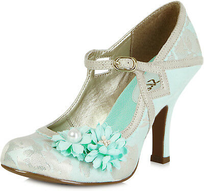 ece3b16ab5a876 Ruby Shoo YASMIN Vintage Flower PEARL Riemchen PUMPS High Heels Rockabilly