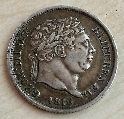 1816 George III Silver Shilling in Very Nice Grade - Mad King George (A78)