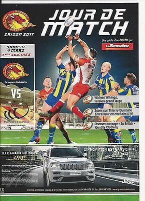 Catalan Dragons V Widnes 2017 programme Rugby League Super