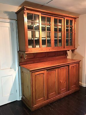Large Antique Pine Country House Kitchen Dresser