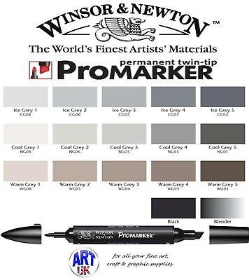 Winsor & Newton PROMARKER Pen Grey Scale Blender Black Drawing Student Letraset