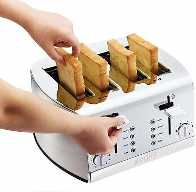 4 Slice Toaster Stainless Steel Bagel Toast Wide Slot Best Rated Four Bread NEW