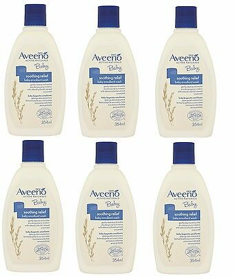 6 x Aveeno Baby Soothing Relief Baby Emollient Wash 354ml