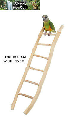 Natural Java Wood Parrot Parakeet Bird Cage Ladder Toy 60 Cm X 15 Cm 4518