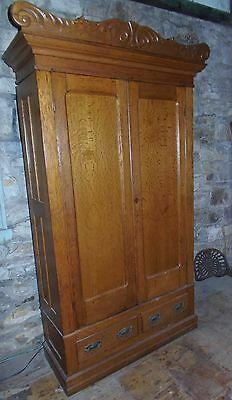 Victorian Oak Knock Down Wardrobe 2 Door Tiger Oak Armoire