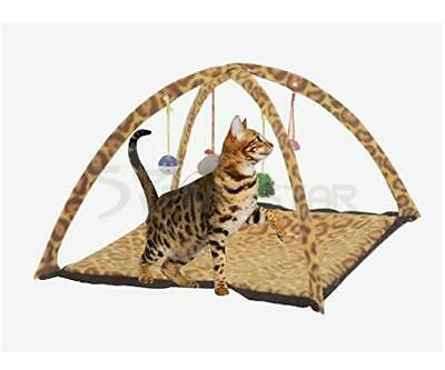 New Pet Cat Dog Activity Playing Tent Leopard Print Bed Pad Mat Bells Mouse Toy