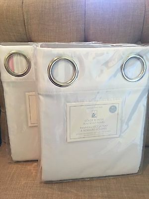 "NEW 2PC Pottery Barn Kids Color Border Grommet BLACKOUT 84"" Panel Pink Sold Out"
