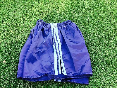 Adidas Vintage Condition Shiny Satin Sprinter Shorts Navy Small D5