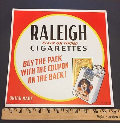 Raleigh Cigarette Union Poster Advertisement Ad Plain Tip