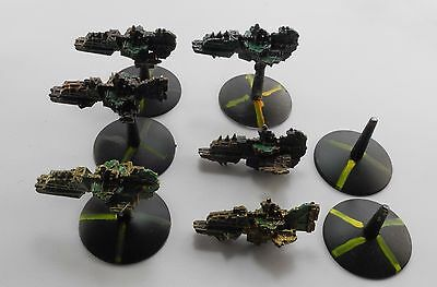 6 ORK ONSLAUGHT ATTACK SHIPS Metal Battlefleet Gothic Orks Painted 1999 A4a