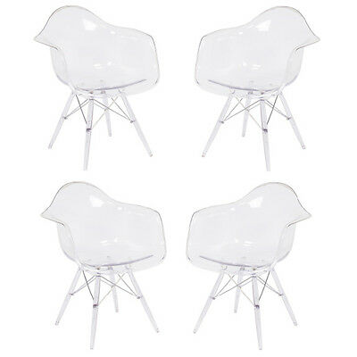 DAW Eames Style Arm Chair Clear Seat Clear Legs Mid Century NEW Set of FOUR