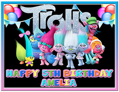 Trolls Edible Icing Cake Image Personalised A4 Party Decoration Topper
