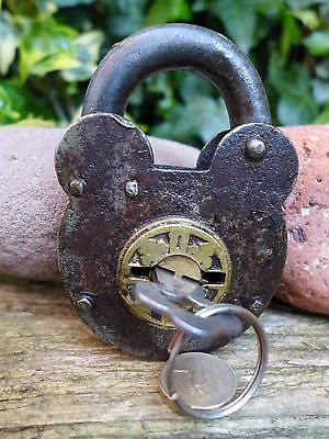 Antique Vintage Padlock with one key, working order, hobby, collector 05