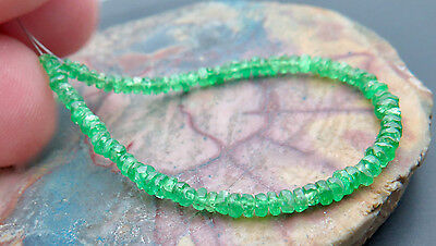"88 STUNNING AAA GEM GRADE GEM GREEN TSAVORITE GARNET FACETED BEADS 4.65"" 8.20ct"