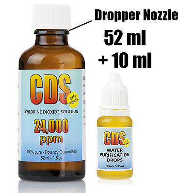 CDS Chlorine Dioxide Solution 62ml /2.2oz 24000 ppm Water Purification Treatment