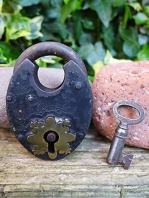 Antique Vintage Padlock with one key, working order, hobby, collector 07