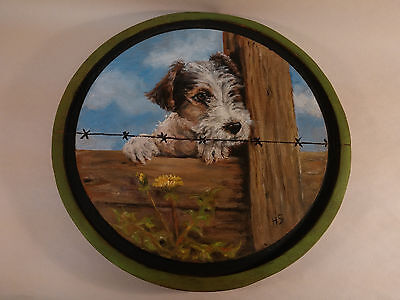 Adorable Hand Painted Jack Russell Terrier Dog Flower Fence Wooden Round Plaque