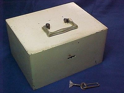 All Steel 'Can't Steal' Antique Cash Box With Alarm and Key Very Secure Box