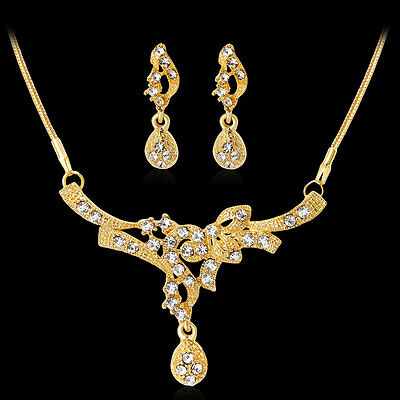 Fashion Gold Plated Rhinestones  Necklace Earrings Jewelry Set For Women Chic