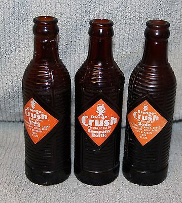 (3)  Duraglas 1940's Orange Crush Beverages Cont 7 Fl oz Amber Ribbed  Soda