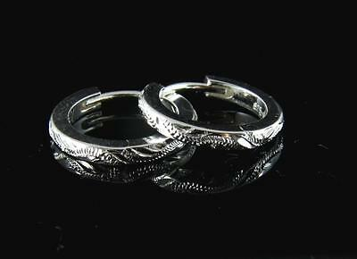 Sterling Silver 925 Hawaiian Scroll Hoop Earrings 2Mm Small Heavy