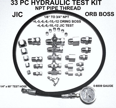 """Hydraulic 33 PC Fast Test Kit 1/8"""" TO 3/4 NPT JIC & ORB Tractor Forklift Tester"""