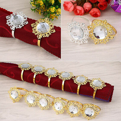 12pcs Diamond Designed Napkin Ring Holder Dinner Party Wedding Table Decor