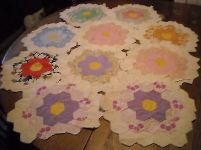 Set of 10 vintage 6 sided quilt blocks hand stitched
